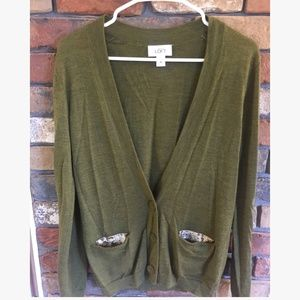 Loft Long Sleeve Button Cardigan with Sequins